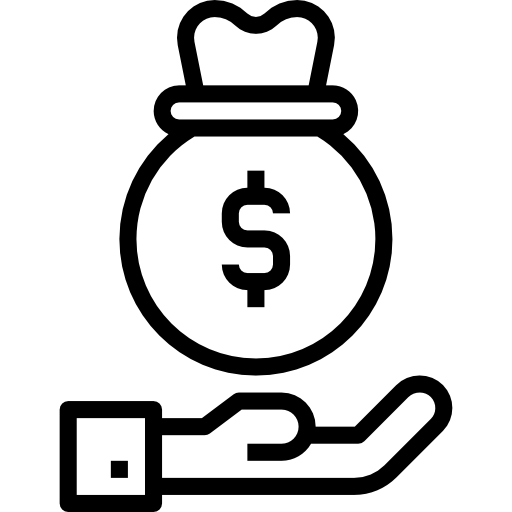 line drawing of a money bag with a $ symbol floating above an open hand