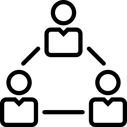 line image of a triangle with a person at each point