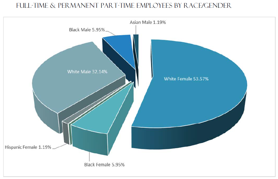 Full-Time and Permanent Part-Time Employees by Race/Gender | White Female 53.57% White Male 32.14% Black Male 5.95% Black Female 5.95% Hispanic Female 1.19% Asian Male 1.19%
