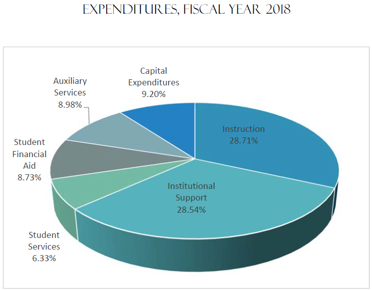 Expenditures Fiscal Year 2018 | Instruction 28.71%, Institutional Support 28.54%, Auxiliary Services 8.98%, Student Financial Aid 8.73%, Student Services 6.33%, Capital Expenditures 9.20%