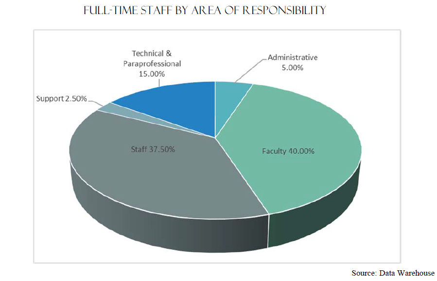 Full-Time Staff by Area of Responsibility | Faculty 40% Staff 37.50% Technical & Paraprofessional 15.00% Support 2.50% Administrative 5.00% Source: Data Warehouse