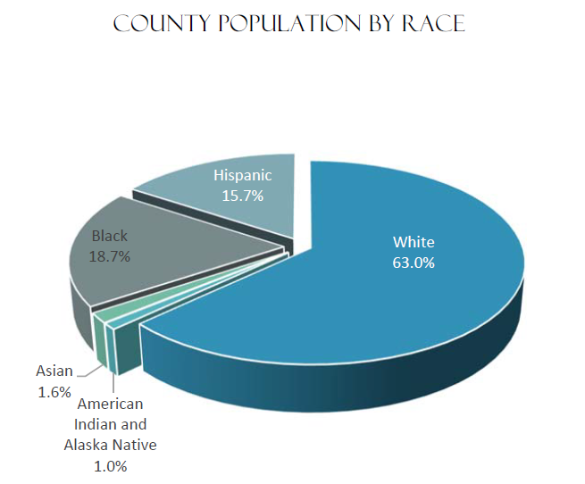 County Population by Race | White 63%, Black 18.7 %, Hispanic 15.7%, Asian 1.6%, American Indian and Alaska Native 1%