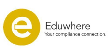 "Eduwhere logo ""Yellow circle with an e inside"" and the words ""Your compliance connection"""