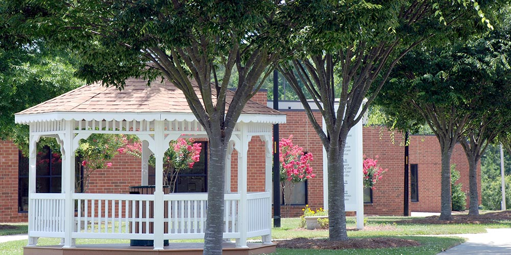 Picture of white gazebo on campus