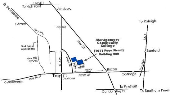 map of the City of Troy with Montgomery College shaded in blue